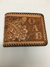 a692994d437f Vintage Hand Tooled Acorn Leafs Design Brown Tan Leather Wallet Billfold OAB