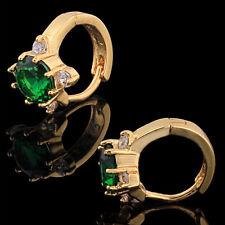 10K Yellow Gold Filled GF CZ Emerald Hoop Earrings Earings, 10mm ID, 12mm Wide.