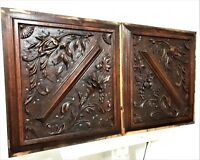 Pair decorative scroll leaves carving panel Antique french architectural salvage
