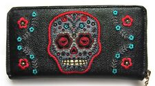 Banned Sugar Skull Muerto Tattoo Embroidery Gothic Faux Leather Wallet Purse Blk