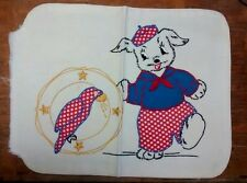 Retro Sailor Dog Hand Embroidered Applique Child's Pillow Cover Vintage c. 1940s