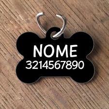 Medaglietta PERSONALIZZATA cane forma di osso NOME telefono nera