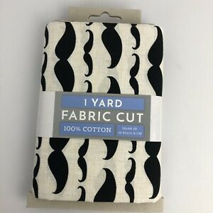 "Mustache 100% Cotton Pre-cut Fabric 1 Yard (36"" X 44"") New (bin 2)"