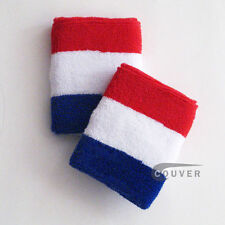 RED WHITE AND BLUE SPORTS QUALITY LARGE SWEAT WRIST BAND WRISTBANDS