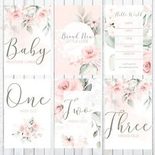 Baby Milestone Cards, 4x6 Photo Prop, 42 Cards, Gentle Rose