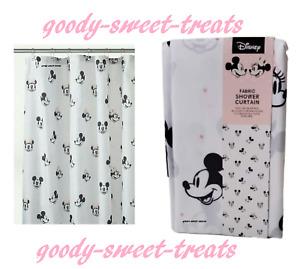 Disney MICKEY & MINNIE MOUSE Fabric Shower Curtain White Black 180cm x 180cm