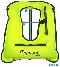 Snorkel Vest X-Large w/ Zipper Adult Typhoon Sports 180lbs & up High Viz Yellow