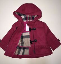 NEW AUTHENTIC BURBERRY PINK CHECK KIDS INFANT BABY GIRL WOOL COAT JACKET 6M 9M