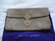 RALPH LAUREN RICKY London Oversized Clutch / Bag Grey Suede.