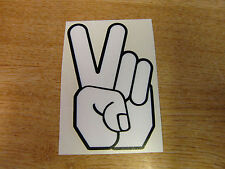 Peace Hand - sticker bomb / rat look - decal 4in (100mm) - Black & White