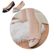 Sweet Womens Ladies Slip On Casual Flats Bowknot Pointed Toe Ballet Boat Shoes