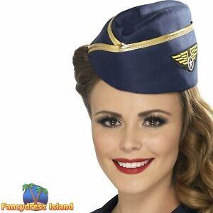 Air Hostess Hat Uniform Hen Night Pilot Women's Fancy Dress Costume