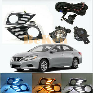 for Nissan Altima 2016-2018 Fog Lights LED DRL Daytime Running Lamps Harnes Kit