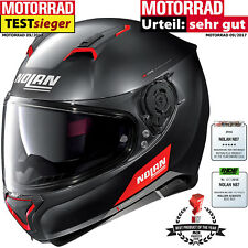 NOLAN Integralhelm N87 EMBLEMA N-COM Flat Black 73 Motorradhelm UltraWide Visier