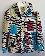 Grenade Fatigue Project Zebra Stripes Retro 1980's Snowboard Ski Jacket Womens S