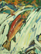 Original Landscape Wildlife Fish Trout Salmon Oil Painting R M Mortensen Art