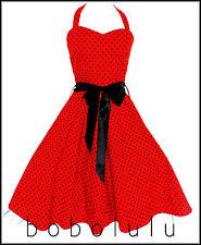 HEARTS & ROSES RED POLKA DOT Swing Dress Rockabilly Grease BeBop Jive Dance 16