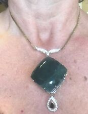 New Custom Huge 263.65ct Grandidierite, sapphire, 1ct diamond 14k gold necklace