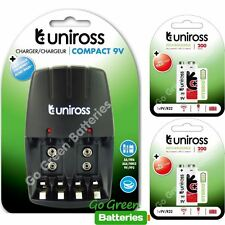 Uniross Compact Charger for AA/AAA/9V PP3 +2x Hybrio 9V Rechargeable Batteries