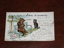 ORIGINAL LOUIS WAIN CAT POSTCARD - WET PAINT, P. M. & Co.
