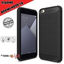 Funda para Xiaomi Redmi Note 5A rugged armor carcasa efecto carbono-Negro