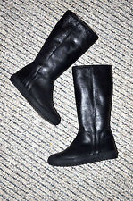 Authentic FENDI Roma Girl's Black Leather Winter Boots (Size 31) Made in Italy