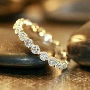 Diamond Wedding Ring Band 14K Yellow Gold Finish Women Anniversary ring