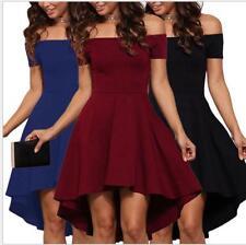 New Women Summer Irregular Off-Shoulder Casual Short Sleeve Cocktail Dress