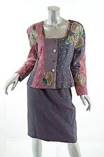 KOOS Van Den AKKER Multi 100% Silk Patchwork/Embroidery Skirt-Suit NWT US 10