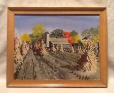 MID CENTURY Framed Fall Farm Scene WATERCOLOR PAINTING Signed Felix Palm