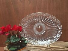 VINTAGE CUT GLASS CRYSTAL OVAL TRAY  / PLATE