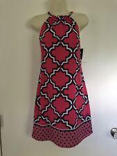 NWT Crown & Ivy Geometric Trellis Print Halter Tie Dress XS X-Small Pink Navy