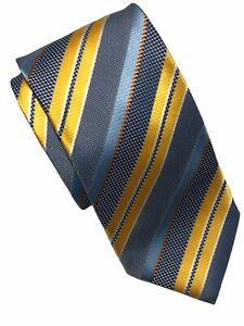 "Hugo Boss Men's Recent Blue/Gold Diagonal Striped Silk Tie - Size 61""L  X  4""W"