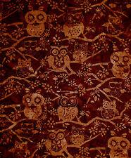 Batik Fabric - Nature Owl Tree Branch Hoffman Indonesian #M2737 Brown - 1.14 Yds