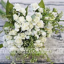 "White Artificial Silk Japanese Rose Plant Flower Bouquet Party Decor Home 12"""