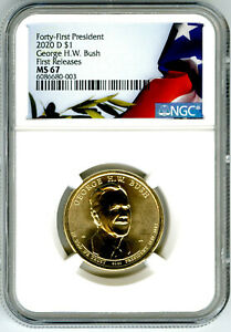 2020 D GEORGE H. W. BUSH PRESIDENTIAL DOLLAR NGC MS67 FIRST RELEASES POP ONLY 12