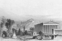 Athens, JUPITER OLYMPUS TEMPLE ACROPOLIS PARTHENON ~ 1871 Art Print Engraving