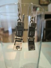 SMALL CELL PHONE OLD STYLE FLIP PHONE DANGLE EARRINGS - SILVER TONE