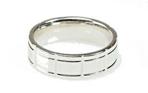 Designer Men's Wedding Band, 14K White Gold Comfort  Sz 10.25, 7.00 mm, 10.8 Gr