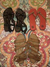 3 PAIR Womens Size 11 Summer Sandals/Shoe Lot: Yellow Box, Etc