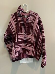 Mexican Rug Poncho Burgundy And Pink Striped Hooded Pullover Girls Size 8