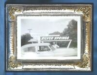Vintage Gold Flowers On Hand Hammered 950 Sterling Silver Photo Picture Frame