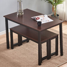 3Pcs Dining Room Table Set w/ 2 Bench Kitchen Modern Wood Furniture Small Space