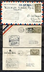 p812 - Canada 1930 Lot of (3) FFCs First Flight Covers