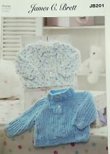 "James C.Brett Chunky Knitting Pattern JB201 Baby Cardigan & Sweater 12-20"" Chest"