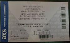 Unused Justin Bieber Concert Ticket