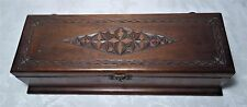 Antique Victorian Long Wooden Box - Trinket Jewelry Glove Box Padded Interior