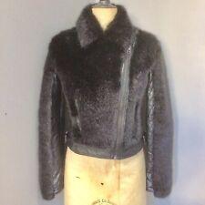 Stunning TOPSHOP Black Faux Fur And Pu Biker Jacket UK 10 RP £79