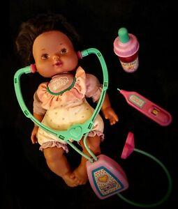 Vtg KENNER Baby CHECK UP Doctor Kit STETHOSCOPE THERMOMETER MEDICINE WORKS 😷EUC