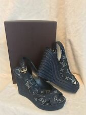 NIB Louis Vuitton Denim Espadrille BASTILLE Wedge Sandals Shoes, 38, 7.5 7